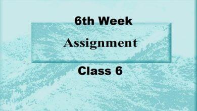 6th week assignment. class 6